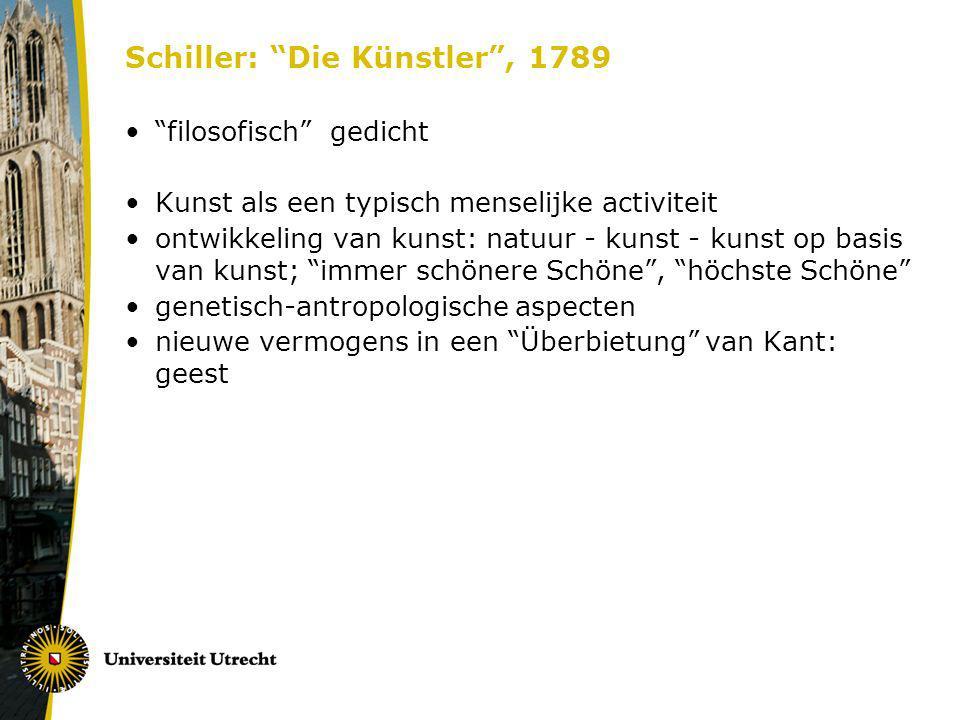 Schiller: Die Künstler, 1789 filosofisch gedicht Kunst als een typisch menselijke activiteit ontwikkeling van kunst: natuur - kunst - kunst op basis v