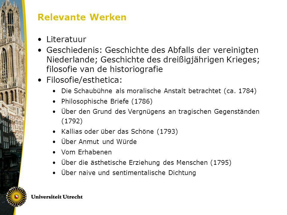 Relevante Werken Literatuur Geschiedenis: Geschichte des Abfalls der vereinigten Niederlande; Geschichte des dreißigjährigen Krieges; filosofie van de