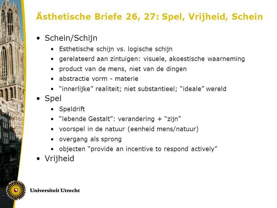 Ästhetische Briefe 26, 27: Spel, Vrijheid, Schein Schein/Schijn Esthetische schijn vs. logische schijn gerelateerd aan zintuigen: visuele, akoestische