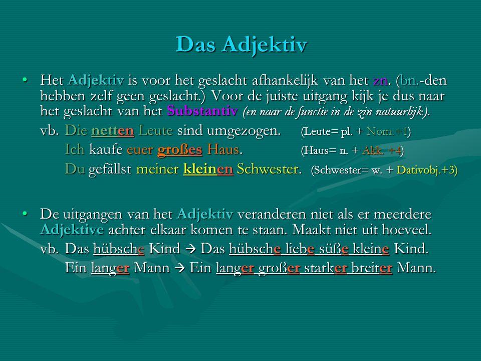 Das Adjektiv Het Adjektiv is voor het geslacht afhankelijk van het zn. (bn.-den hebben zelf geen geslacht.) Voor de juiste uitgang kijk je dus naar he