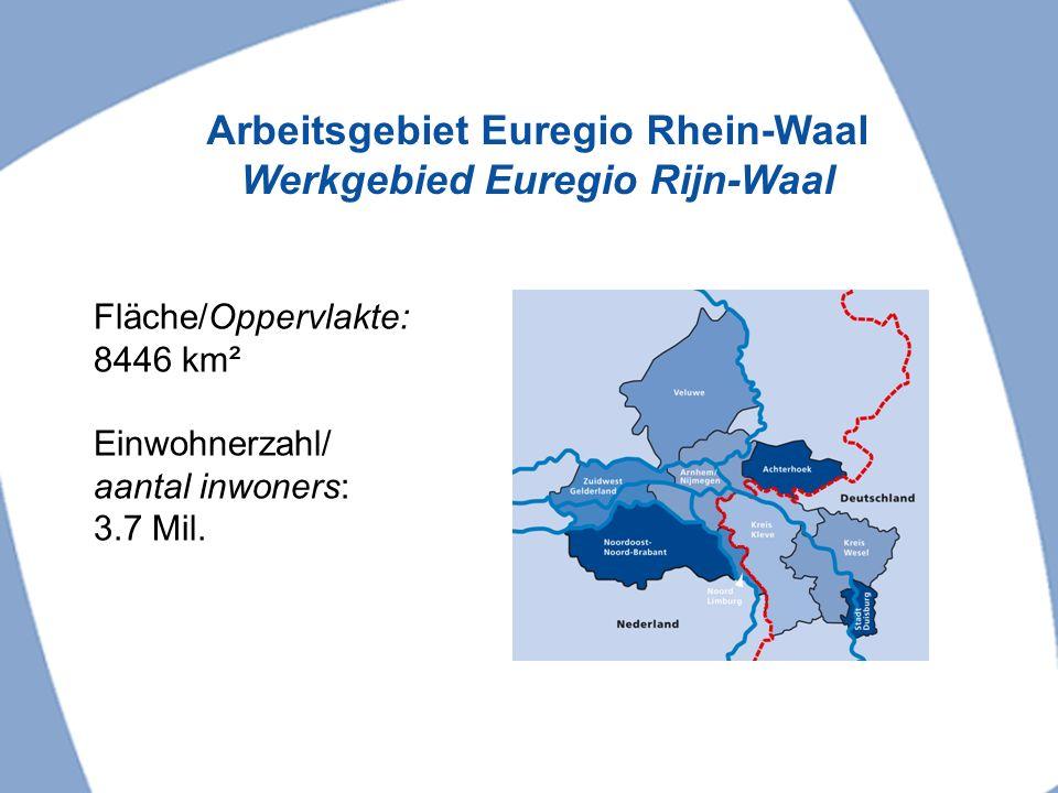 Organisationsstruktur Euregio Rhein-Waal Organisatiestructuur Euregio Rijn-Waal Lidorganisaties 56 steden en gemeenten, regionale overheden en kamers van koophandel Euregioraad 136 leden Dagelijks bestuur 7 leden Secretariaat 23 medewerkers 3 Commissies Grensoverschrijdende verstandhouding Financiën en projecten Economie