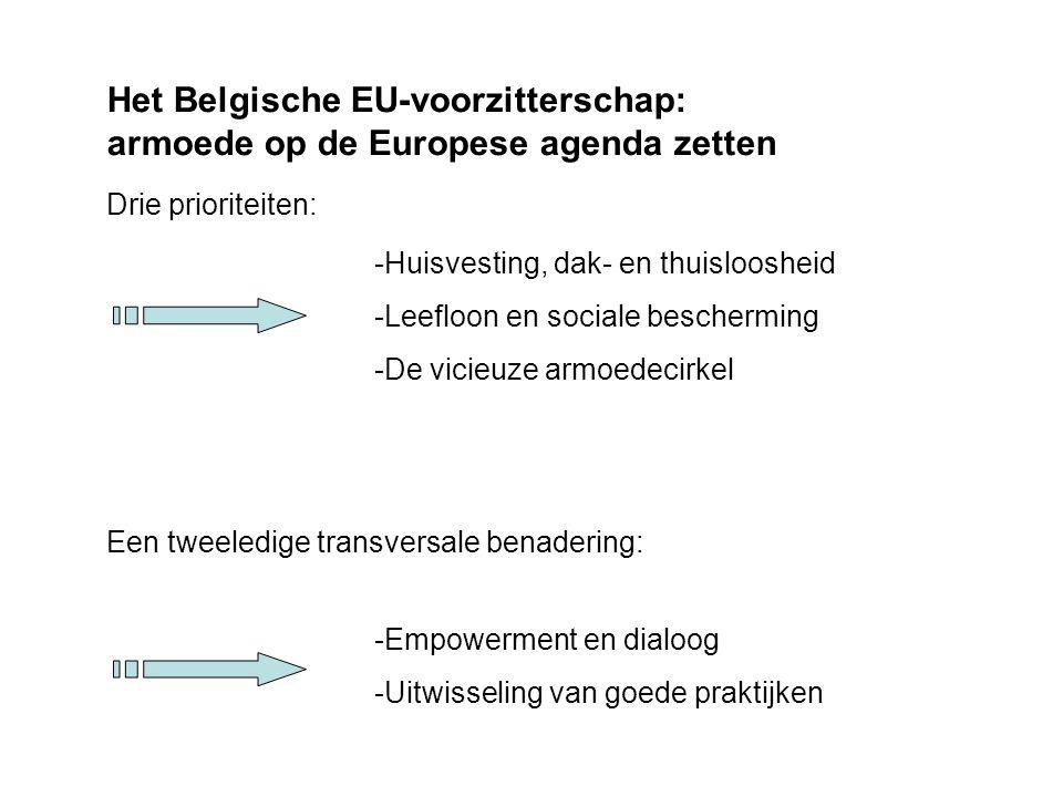 Het Belgische EU-voorzitterschap: armoede op de Europese agenda zetten Drie prioriteiten: -Huisvesting, dak- en thuisloosheid -Leefloon en sociale bescherming -De vicieuze armoedecirkel Een tweeledige transversale benadering: -Empowerment en dialoog -Uitwisseling van goede praktijken