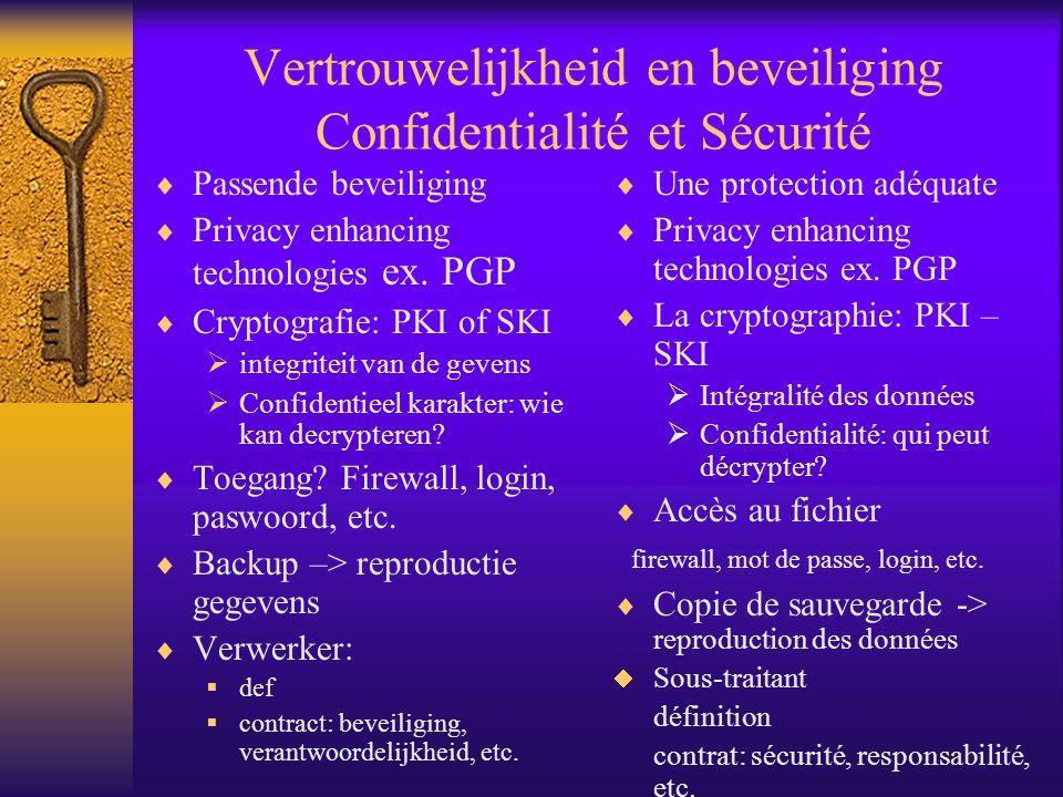 Vertrouwelijkheid en beveiliging Confidentialité et Sécurité Passende beveiliging Privacy enhancing technologies ex.