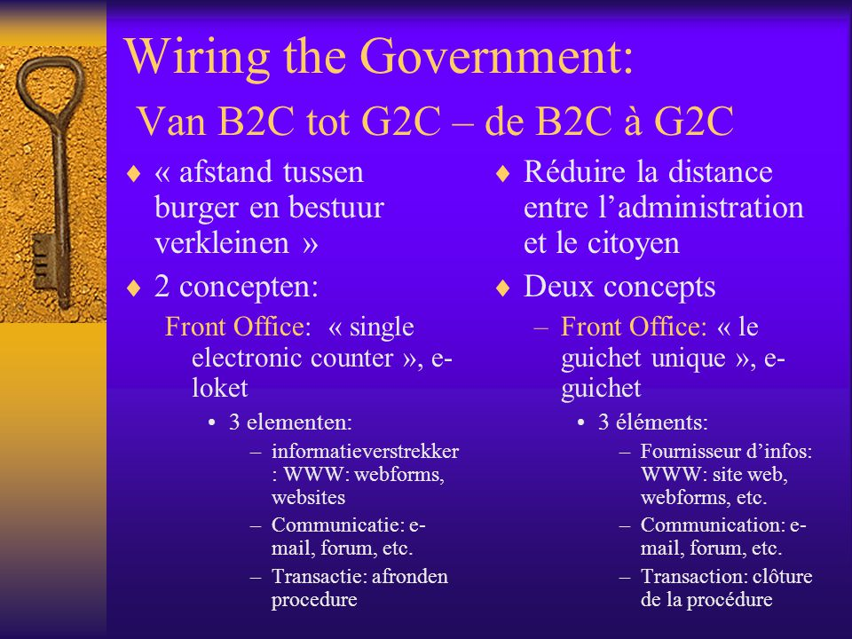 Wiring the Government: Van B2C tot G2C – de B2C à G2C « afstand tussen burger en bestuur verkleinen » 2 concepten: Front Office: « single electronic counter », e- loket 3 elementen: –informatieverstrekker : WWW: webforms, websites –Communicatie: e- mail, forum, etc.