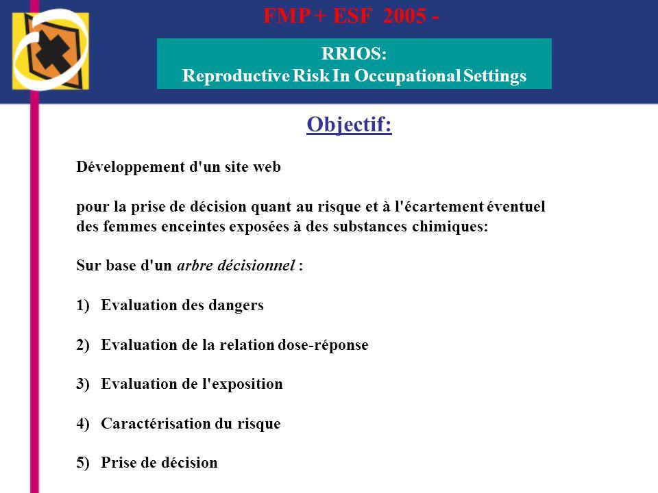 FMP + ESF 2005 - RRIOS: Reproductive Risk In Occupational Settings Objectif: Développement d'un site web pour la prise de décision quant au risque et