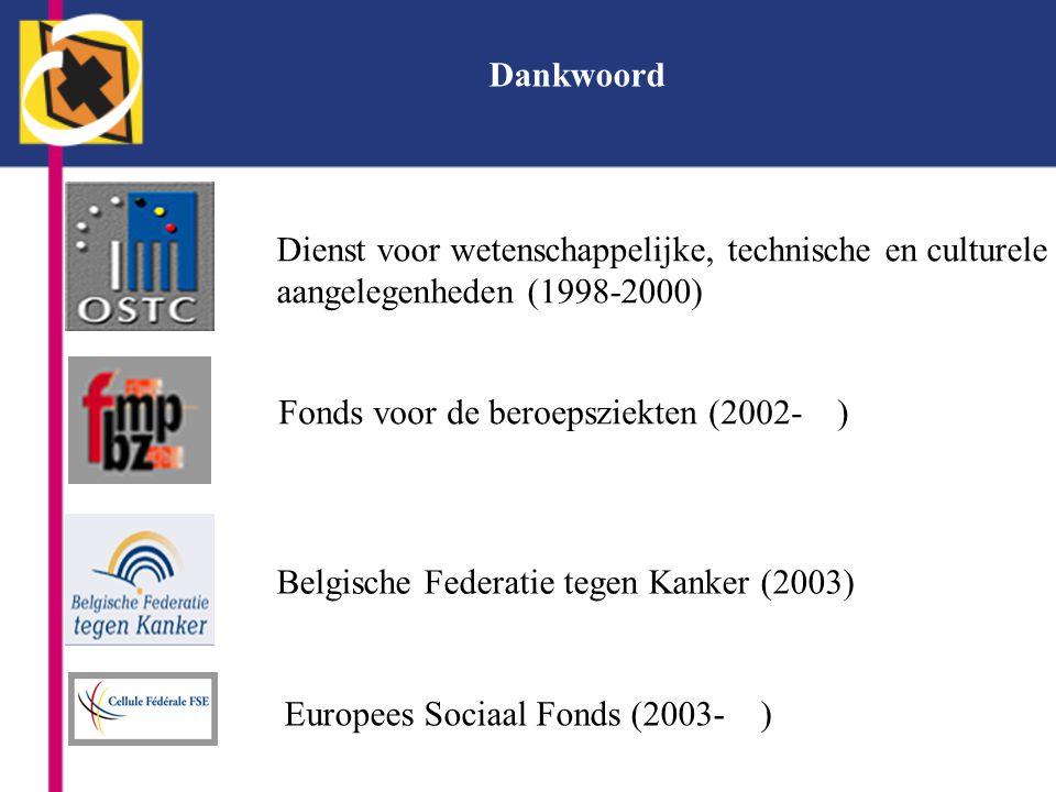 Dankwoord Dienst voor wetenschappelijke, technische en culturele aangelegenheden (1998-2000) Fonds voor de beroepsziekten (2002- ) Belgische Federatie