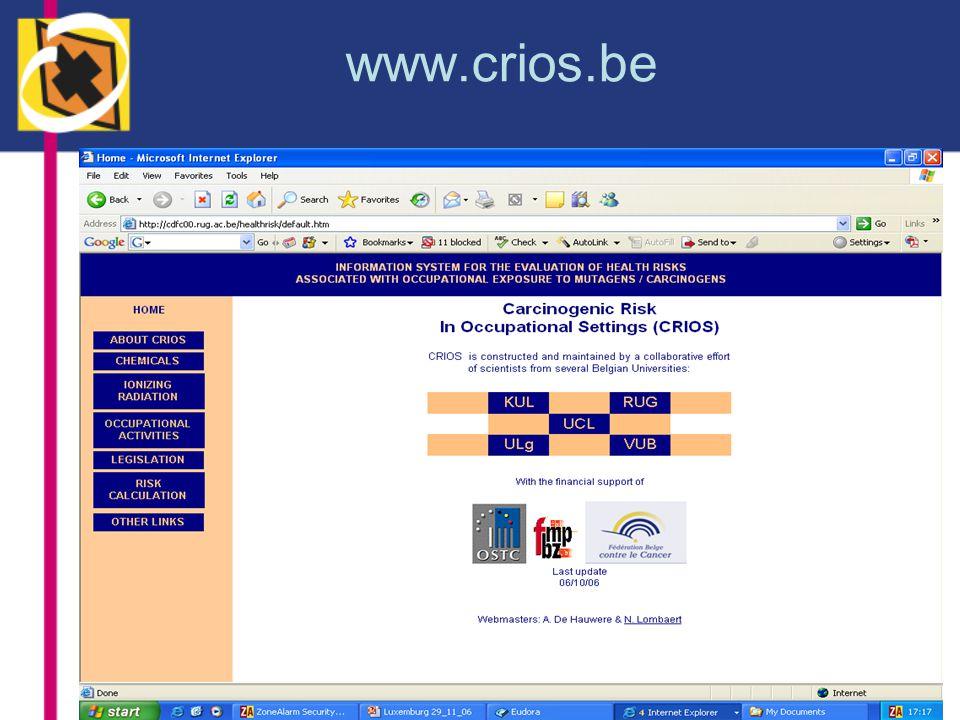 Dankwoord Dienst voor wetenschappelijke, technische en culturele aangelegenheden (1998-2000) Fonds voor de beroepsziekten (2002- ) Belgische Federatie tegen Kanker (2003) Europees Sociaal Fonds (2003- )