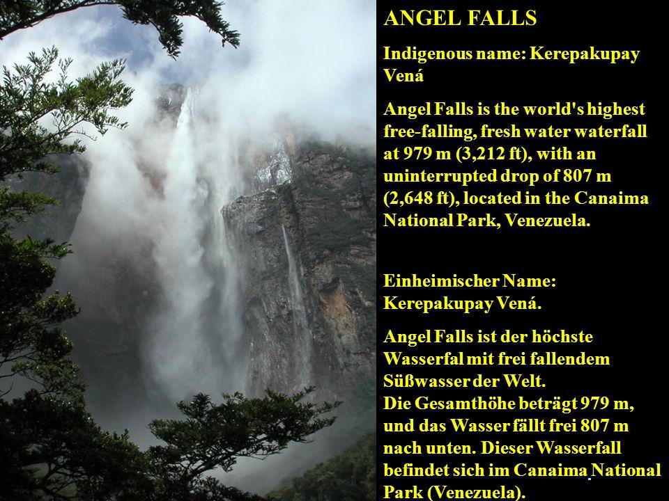 ANGEL FALLS Inheemse naam: Kerepakupay Vená. Angel Falls is de hoogste waterval met vrij vallend zoet water ter wereld. De totale hoogte bedraagt 979