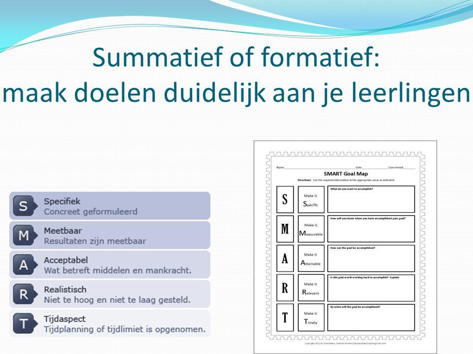 Summatief of formatief: maak doelen duidelijk aan je leerlingen