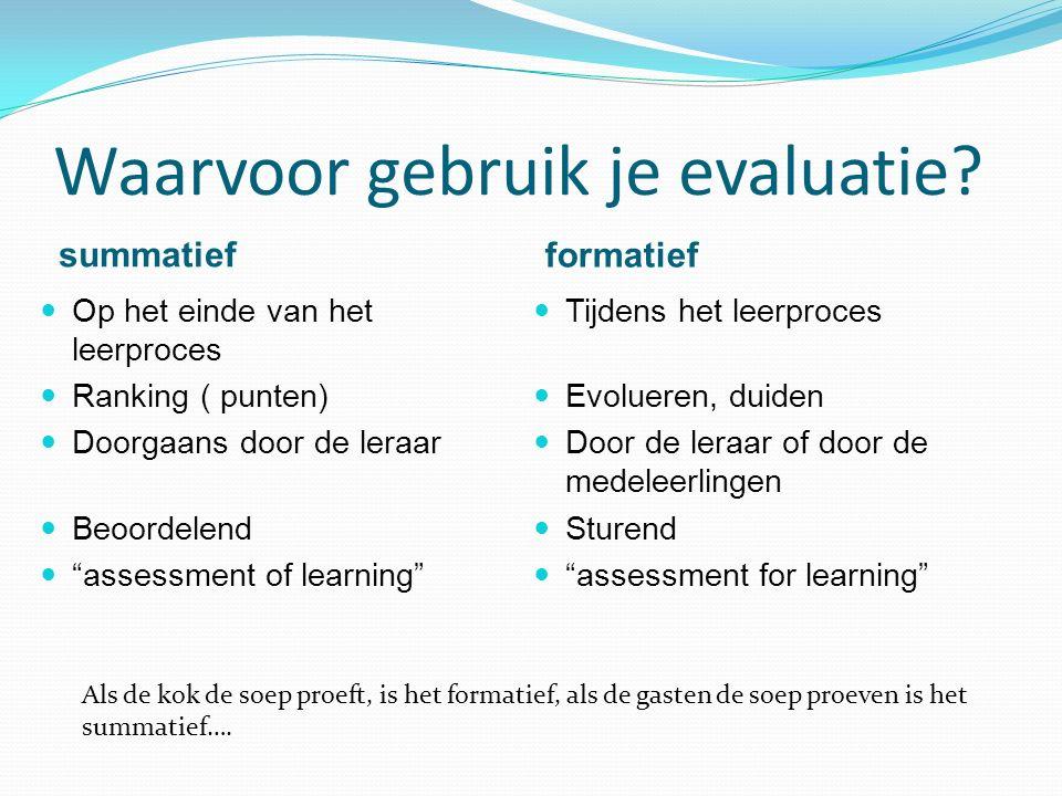 """Waarvoor gebruik je evaluatie? summatief formatief Op het einde van het leerproces Ranking ( punten) Doorgaans door de leraar Beoordelend """"assessment"""