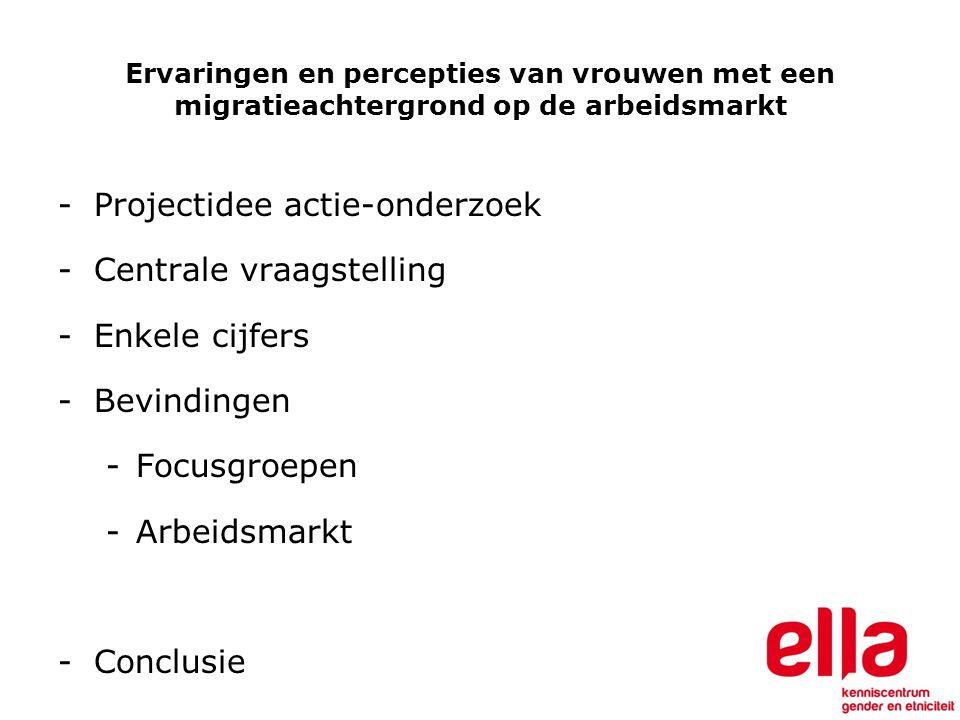 Enkele Belgische cijfers (socio-economische Monitoring) 67% van de vrouwen in België tussen de 18 en 60 jaar is 'actief'  75% van de vrouwen van Belgische origine is beroepsactief  51% van de vrouwen van Zuid/Centraal- Amerikaanse origine is beroepsactief  45% van de vrouwen van Maghrebijnse origine is 'actief'  40% van de vrouwen van 'andere Europese' origine is 'actief'