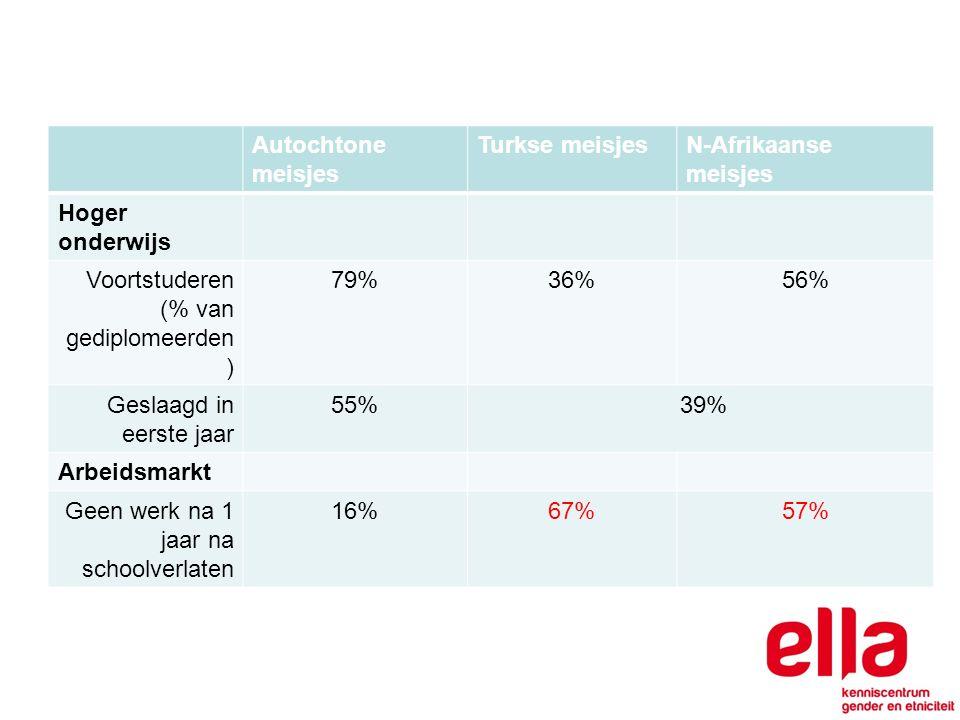 Autochtone meisjes Turkse meisjesN-Afrikaanse meisjes Hoger onderwijs Voortstuderen (% van gediplomeerden ) 79%36%56% Geslaagd in eerste jaar 55% 39% Arbeidsmarkt Geen werk na 1 jaar na schoolverlaten 16%67%57%