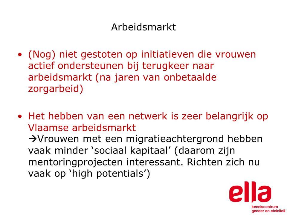 Arbeidsmarkt (Nog) niet gestoten op initiatieven die vrouwen actief ondersteunen bij terugkeer naar arbeidsmarkt (na jaren van onbetaalde zorgarbeid) Het hebben van een netwerk is zeer belangrijk op Vlaamse arbeidsmarkt  Vrouwen met een migratieachtergrond hebben vaak minder 'sociaal kapitaal' (daarom zijn mentoringprojecten interessant.