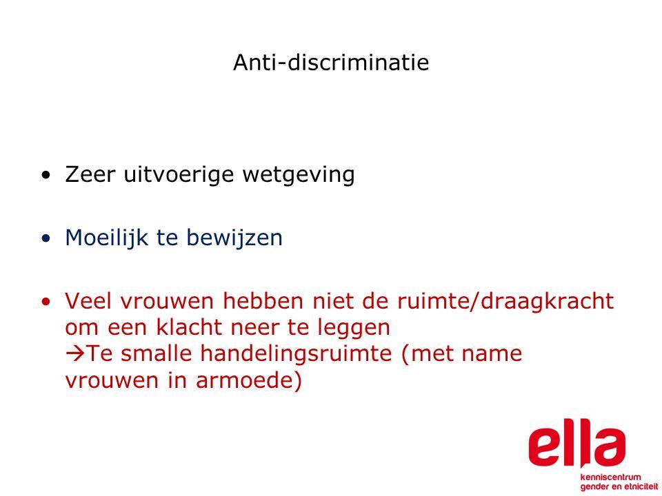Anti-discriminatie Zeer uitvoerige wetgeving Moeilijk te bewijzen Veel vrouwen hebben niet de ruimte/draagkracht om een klacht neer te leggen  Te smalle handelingsruimte (met name vrouwen in armoede)