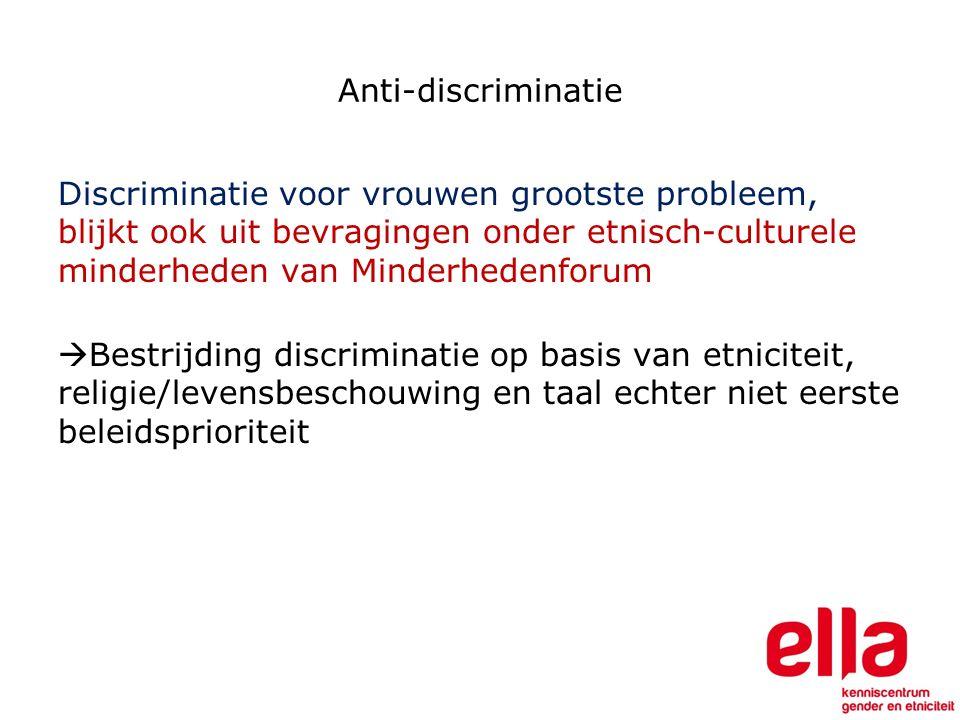 Anti-discriminatie Discriminatie voor vrouwen grootste probleem, blijkt ook uit bevragingen onder etnisch-culturele minderheden van Minderhedenforum  Bestrijding discriminatie op basis van etniciteit, religie/levensbeschouwing en taal echter niet eerste beleidsprioriteit