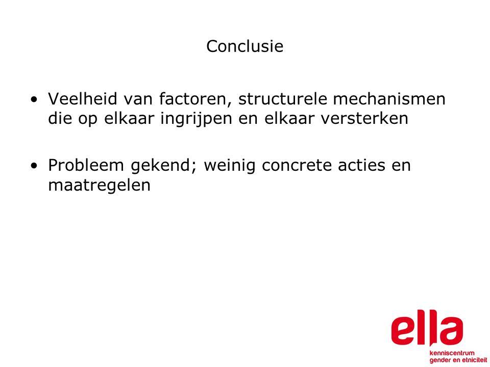 Conclusie Veelheid van factoren, structurele mechanismen die op elkaar ingrijpen en elkaar versterken Probleem gekend; weinig concrete acties en maatregelen