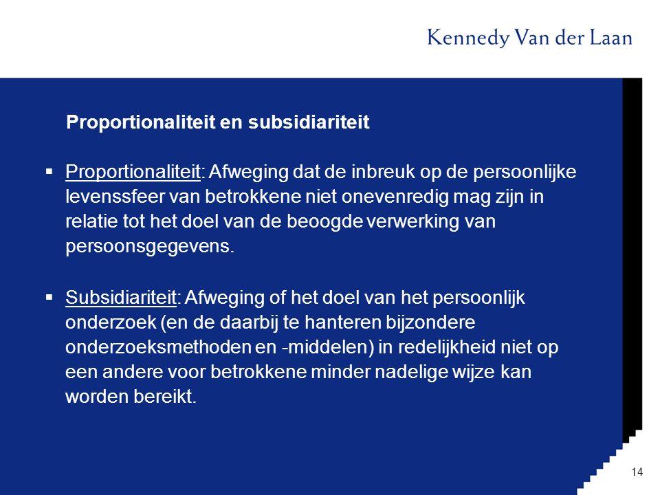 Proportionaliteit en subsidiariteit  Proportionaliteit: Afweging dat de inbreuk op de persoonlijke levenssfeer van betrokkene niet onevenredig mag zi