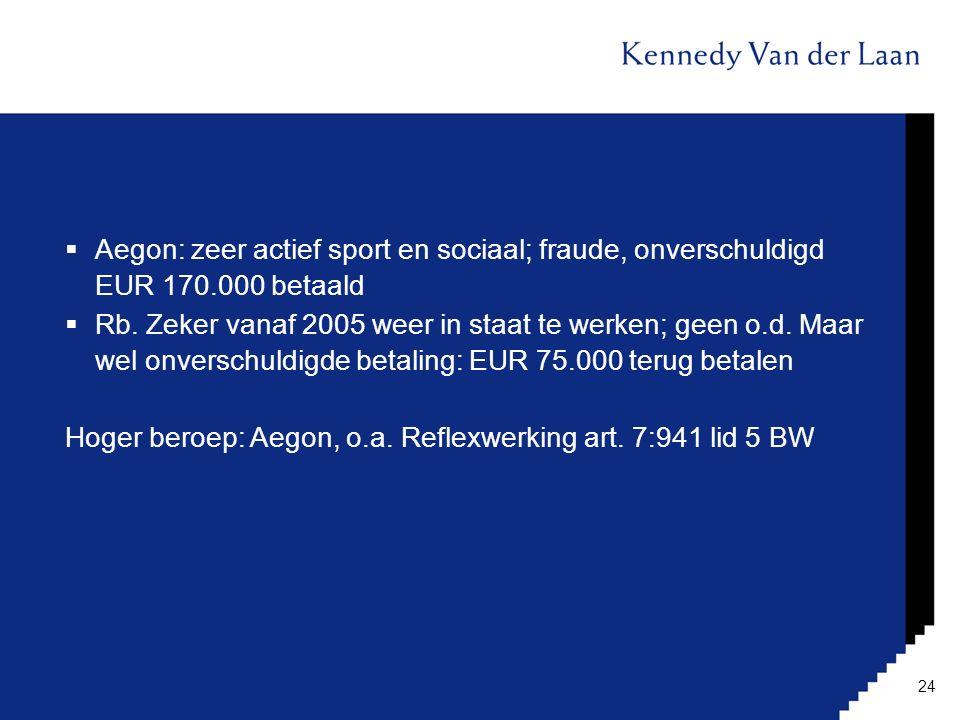  Aegon: zeer actief sport en sociaal; fraude, onverschuldigd EUR 170.000 betaald  Rb. Zeker vanaf 2005 weer in staat te werken; geen o.d. Maar wel o
