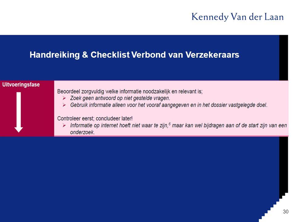 Handreiking & Checklist Verbond van Verzekeraars 30