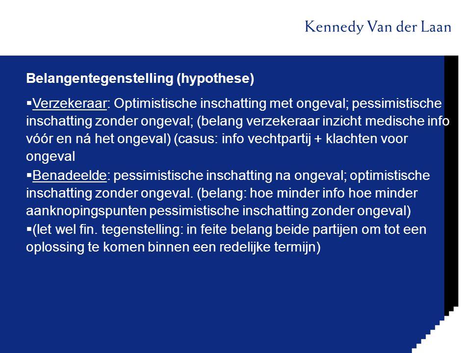 Belangentegenstelling (hypothese)  Verzekeraar: Optimistische inschatting met ongeval; pessimistische inschatting zonder ongeval; (belang verzekeraar