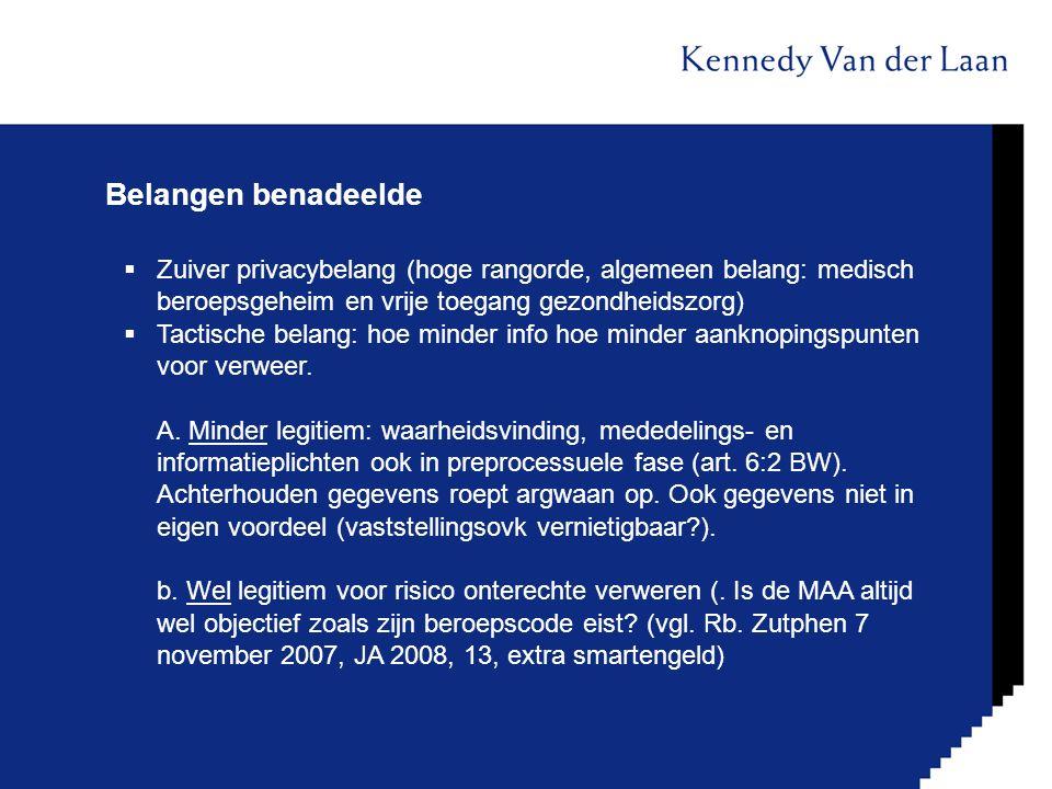 Belangen benadeelde  Zuiver privacybelang (hoge rangorde, algemeen belang: medisch beroepsgeheim en vrije toegang gezondheidszorg)  Tactische belang
