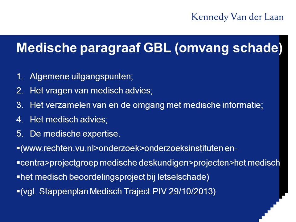 Medische paragraaf GBL (omvang schade) 1.Algemene uitgangspunten; 2.Het vragen van medisch advies; 3.Het verzamelen van en de omgang met medische info