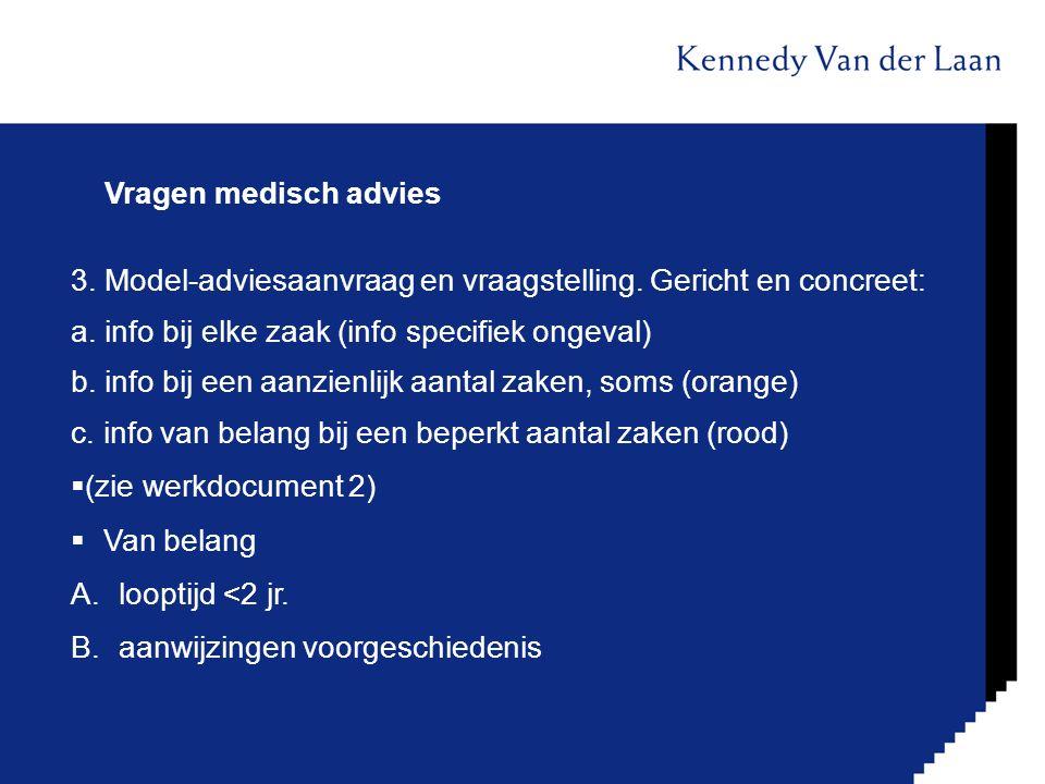Vragen medisch advies 3. Model-adviesaanvraag en vraagstelling. Gericht en concreet: a. info bij elke zaak (info specifiek ongeval) b. info bij een aa