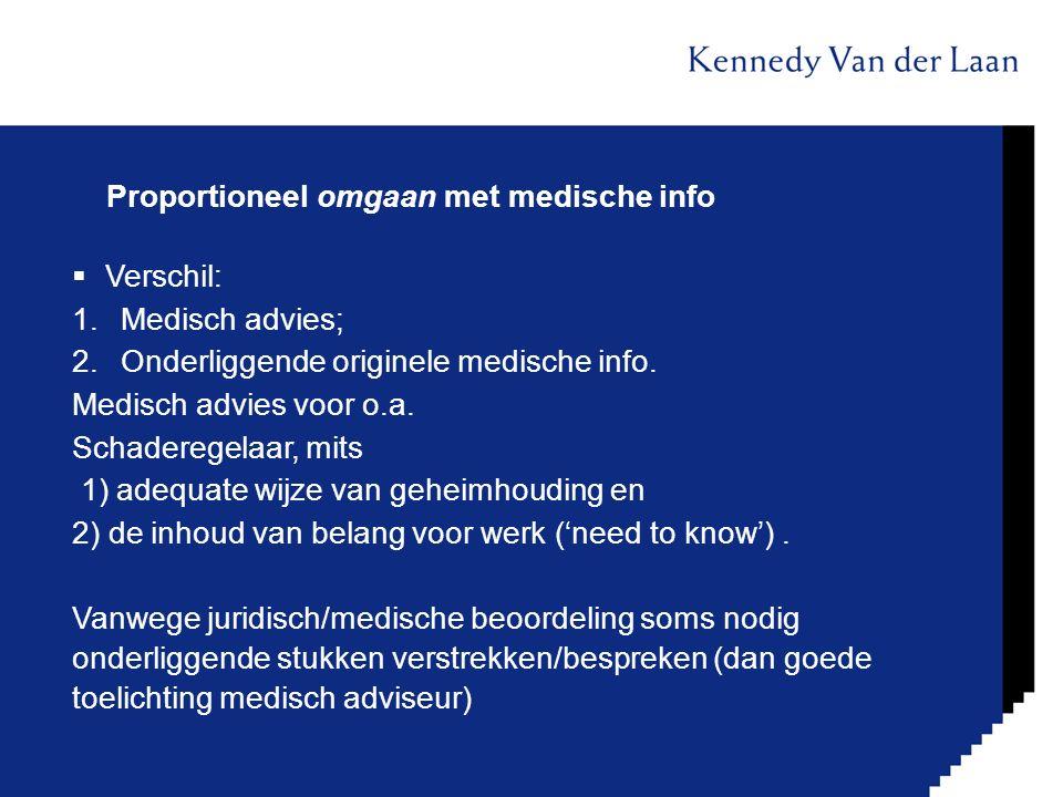 Proportioneel omgaan met medische info  Verschil: 1.Medisch advies; 2.Onderliggende originele medische info. Medisch advies voor o.a. Schaderegelaar,