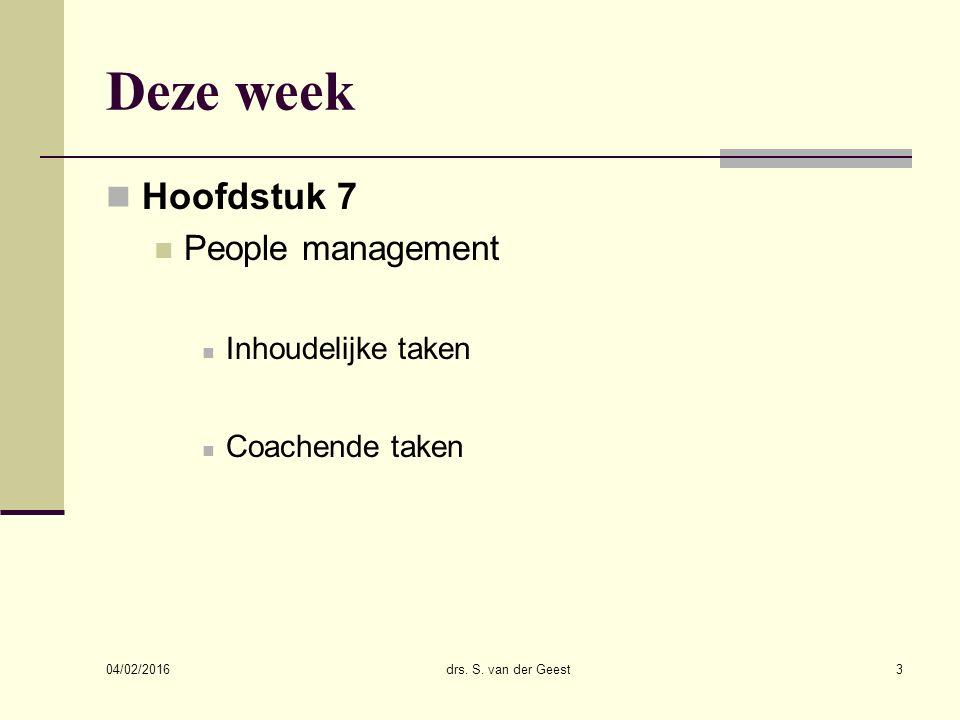 Deze week Hoofdstuk 7 People management Inhoudelijke taken Coachende taken 04/02/2016 drs.