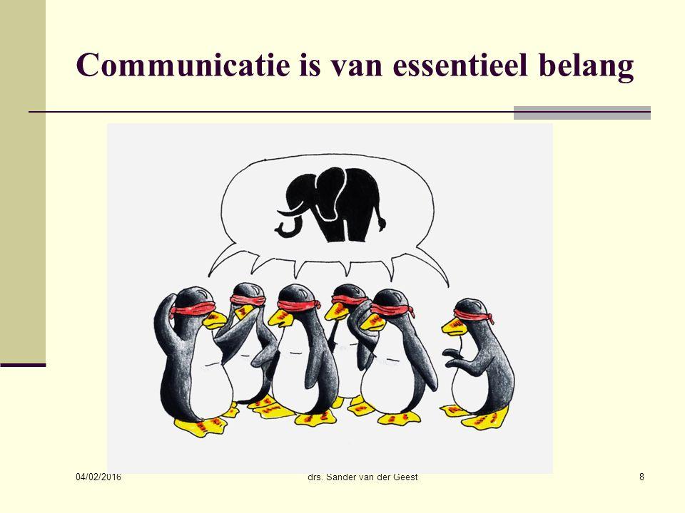 04/02/2016 drs. Sander van der Geest8 Communicatie is van essentieel belang