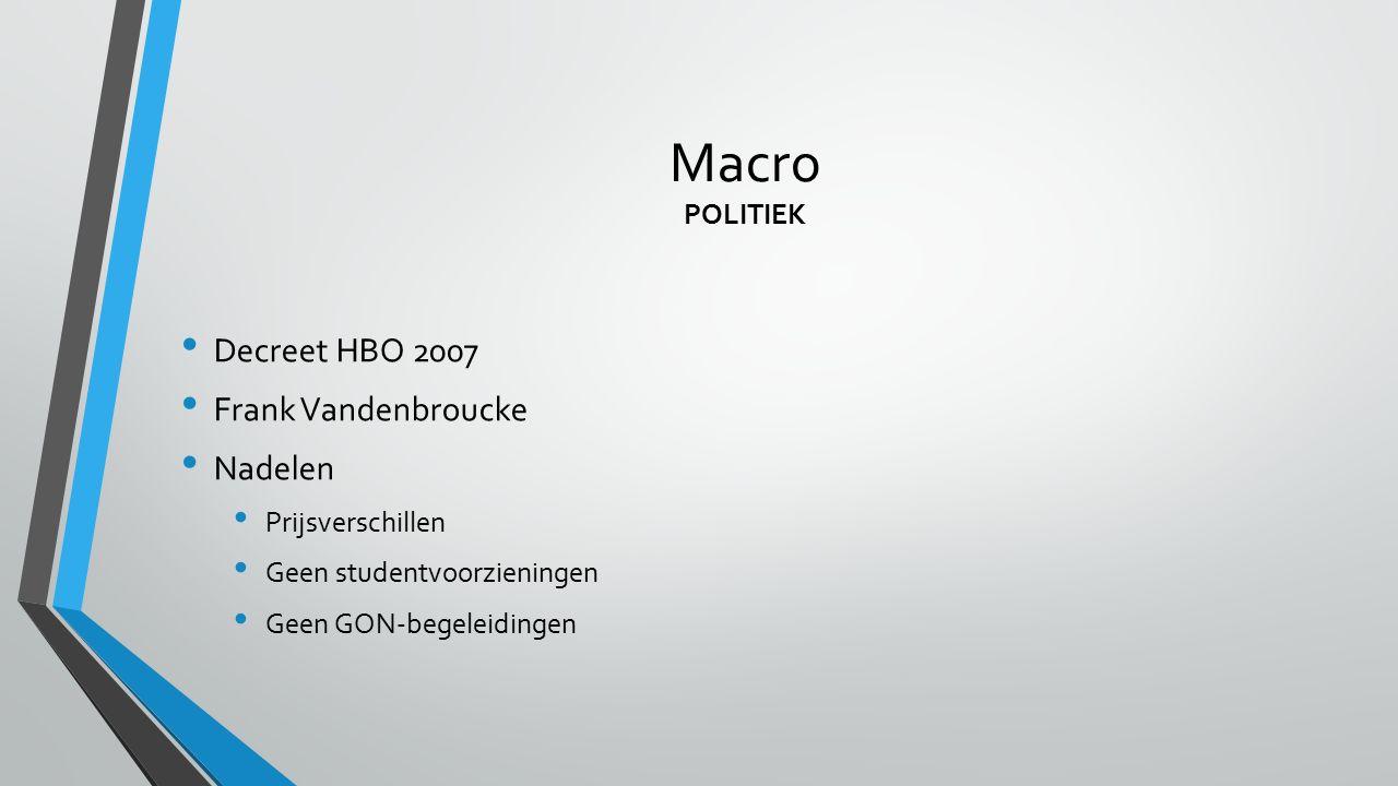 Macro POLITIEK Decreet HBO 2007 Frank Vandenbroucke Nadelen Prijsverschillen Geen studentvoorzieningen Geen GON-begeleidingen