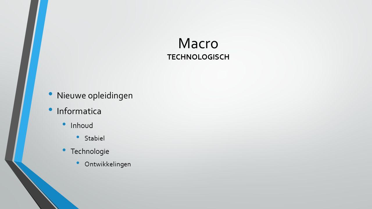 Macro TECHNOLOGISCH Nieuwe opleidingen Informatica Inhoud Stabiel Technologie Ontwikkelingen