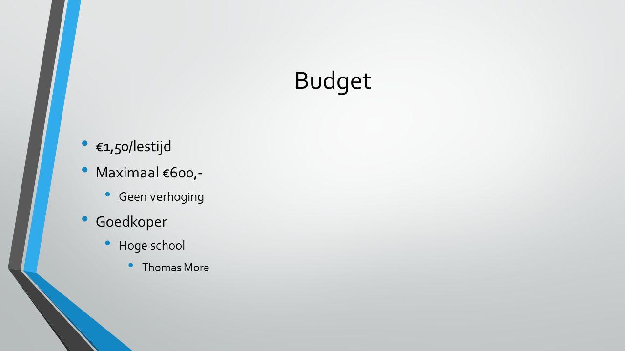 Budget €1,50/lestijd Maximaal €600,- Geen verhoging Goedkoper Hoge school Thomas More