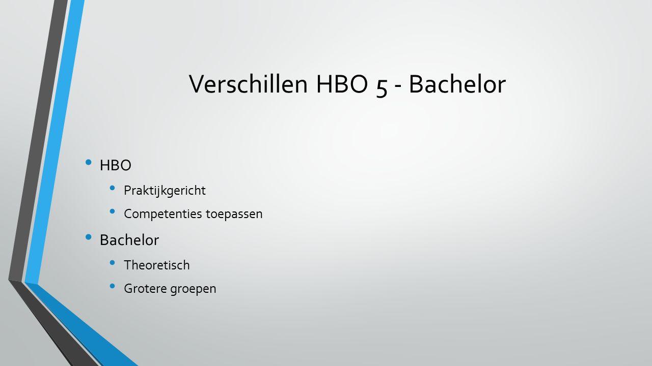 Verschillen HBO 5 - Bachelor HBO Praktijkgericht Competenties toepassen Bachelor Theoretisch Grotere groepen