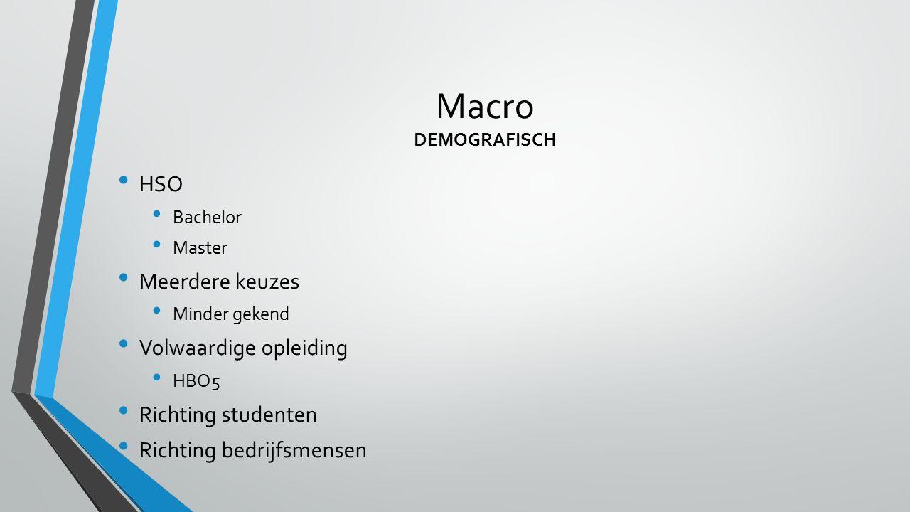 Macro DEMOGRAFISCH HSO Bachelor Master Meerdere keuzes Minder gekend Volwaardige opleiding HBO5 Richting studenten Richting bedrijfsmensen