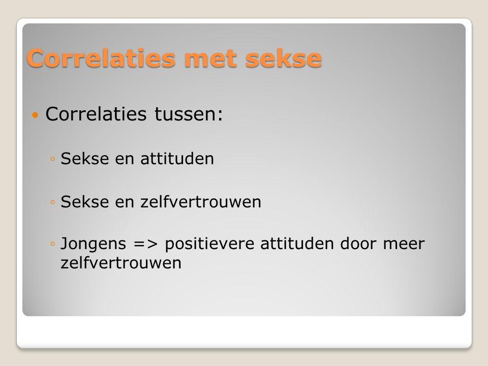 Correlaties met sekse Correlaties tussen: ◦Sekse en attituden ◦Sekse en zelfvertrouwen ◦Jongens => positievere attituden door meer zelfvertrouwen