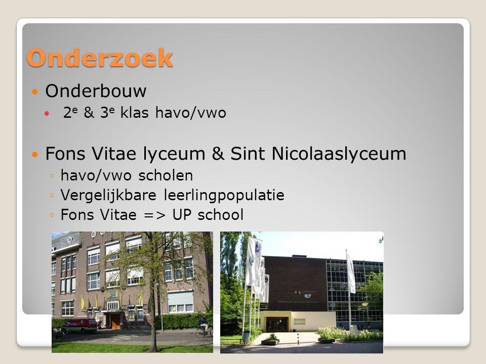Onderzoek Onderbouw 2 e & 3 e klas havo/vwo Fons Vitae lyceum & Sint Nicolaaslyceum ◦havo/vwo scholen ◦Vergelijkbare leerlingpopulatie ◦Fons Vitae => UP school