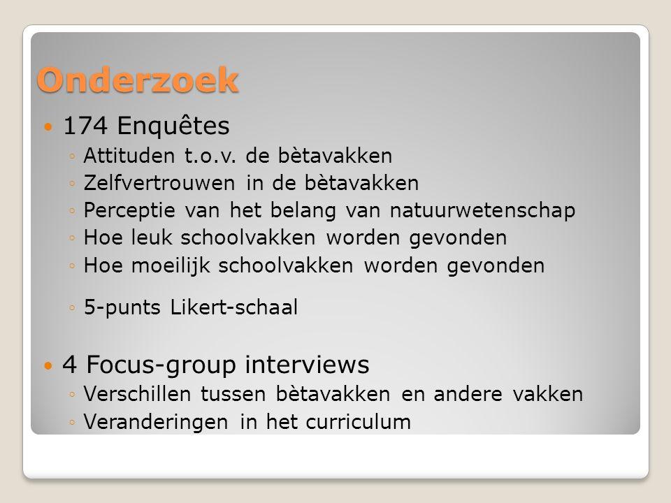 Onderzoek 174 Enquêtes ◦A◦Attituden t.o.v.