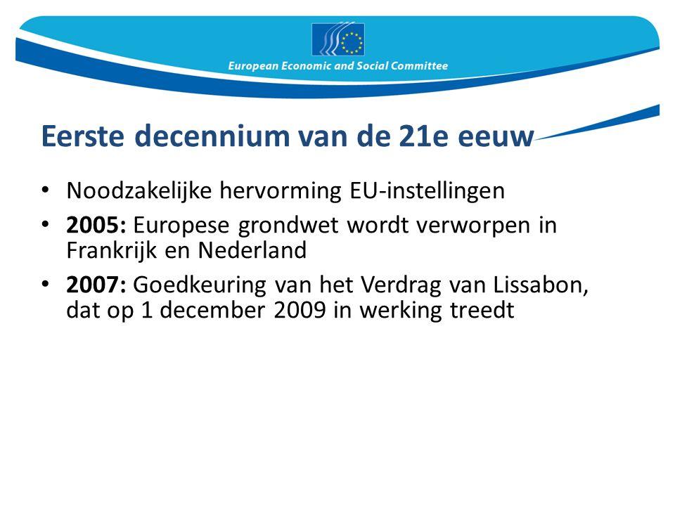 Eerste decennium van de 21e eeuw Noodzakelijke hervorming EU-instellingen 2005: Europese grondwet wordt verworpen in Frankrijk en Nederland 2007: Goedkeuring van het Verdrag van Lissabon, dat op 1 december 2009 in werking treedt