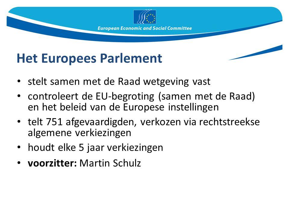 Het Europees Parlement stelt samen met de Raad wetgeving vast controleert de EU-begroting (samen met de Raad) en het beleid van de Europese instellingen telt 751 afgevaardigden, verkozen via rechtstreekse algemene verkiezingen houdt elke 5 jaar verkiezingen voorzitter: Martin Schulz