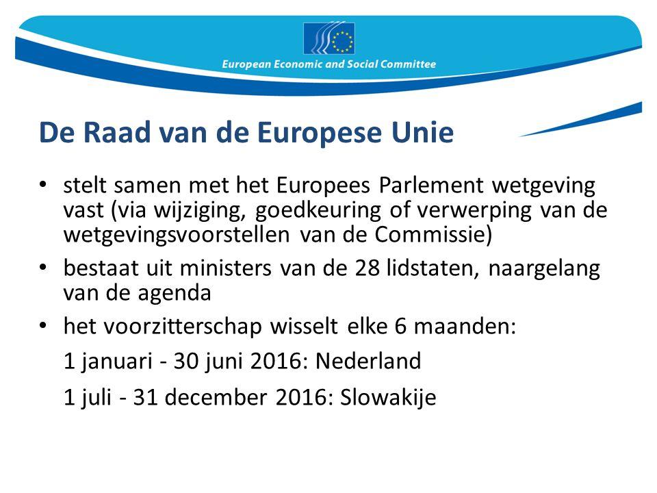 De Raad van de Europese Unie stelt samen met het Europees Parlement wetgeving vast (via wijziging, goedkeuring of verwerping van de wetgevingsvoorstellen van de Commissie) bestaat uit ministers van de 28 lidstaten, naargelang van de agenda het voorzitterschap wisselt elke 6 maanden: 1 januari - 30 juni 2016: Nederland 1 juli - 31 december 2016: Slowakije