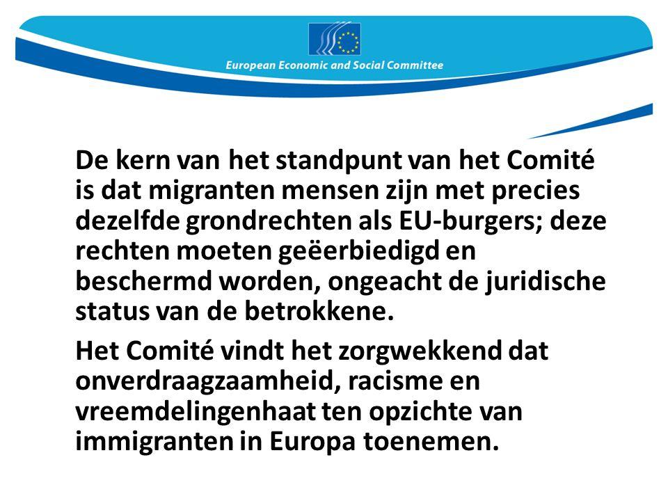 De kern van het standpunt van het Comité is dat migranten mensen zijn met precies dezelfde grondrechten als EU-burgers; deze rechten moeten geëerbiedigd en beschermd worden, ongeacht de juridische status van de betrokkene.