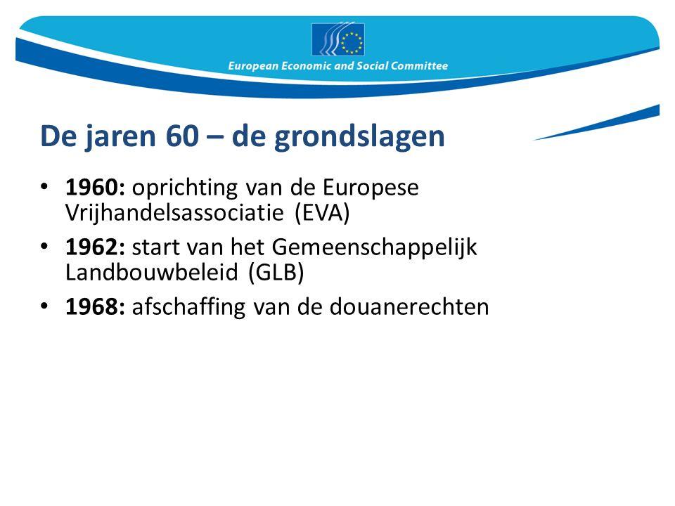 De jaren 60 – de grondslagen 1960: oprichting van de Europese Vrijhandelsassociatie (EVA) 1962: start van het Gemeenschappelijk Landbouwbeleid (GLB) 1968: afschaffing van de douanerechten