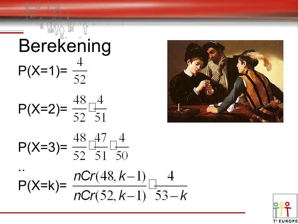 Berekening P(X=1)= P(X=2)= P(X=3)=.. P(X=k)=