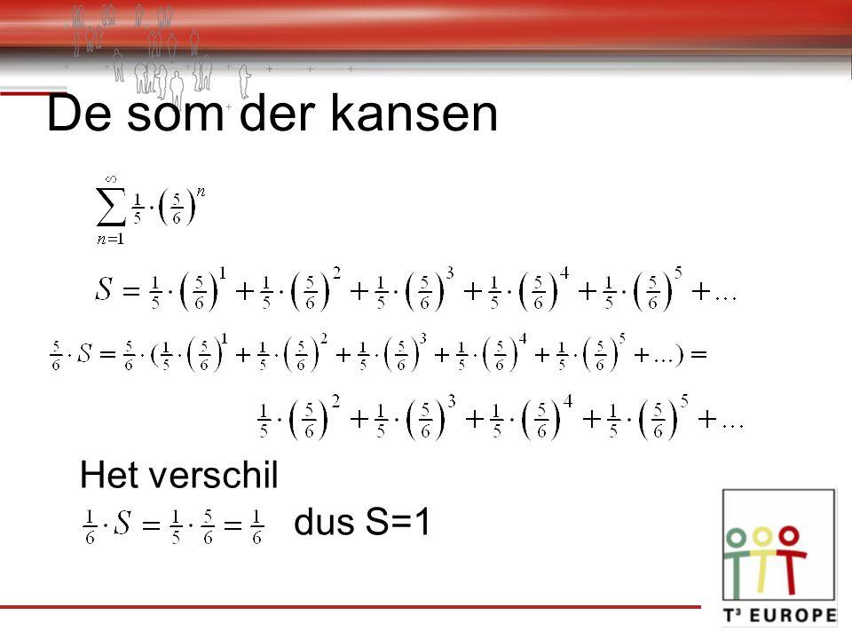 De som der kansen Het verschil dus S=1