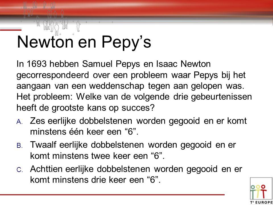 Newton en Pepy's In 1693 hebben Samuel Pepys en Isaac Newton gecorrespondeerd over een probleem waar Pepys bij het aangaan van een weddenschap tegen aan gelopen was.
