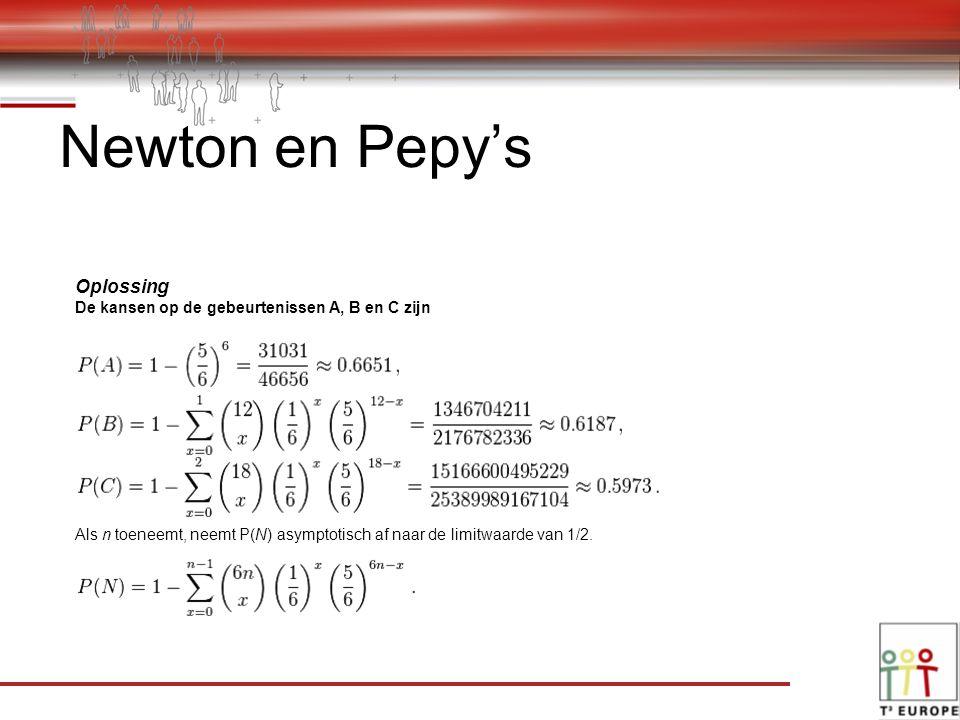 Newton en Pepy's Oplossing De kansen op de gebeurtenissen A, B en C zijn Als n toeneemt, neemt P(N) asymptotisch af naar de limitwaarde van 1/2.