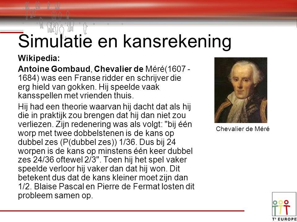 Simulatie en kansrekening Wikipedia: Antoine Gombaud, Chevalier de Méré(1607 - 1684) was een Franse ridder en schrijver die erg hield van gokken.