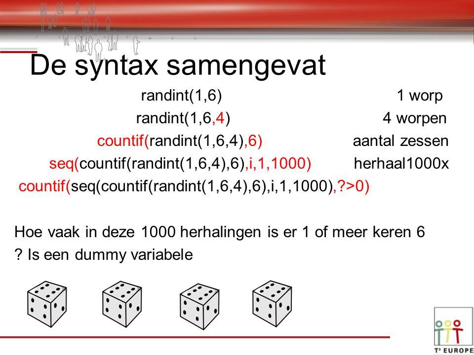 randint(1,6) 1 worp randint(1,6,4) 4 worpen countif(randint(1,6,4),6) aantal zessen seq(countif(randint(1,6,4),6),i,1,1000) herhaal1000x countif(seq(countif(randint(1,6,4),6),i,1,1000), >0) Hoe vaak in deze 1000 herhalingen is er 1 of meer keren 6 .