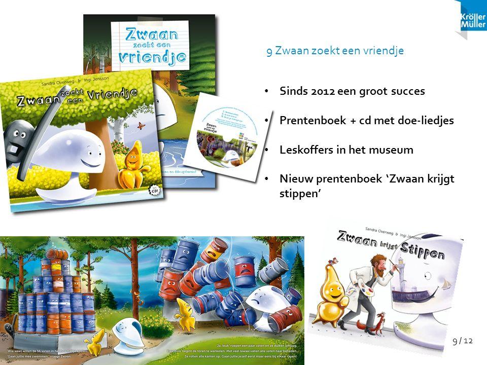 9 / 12 Sinds 2012 een groot succes Prentenboek + cd met doe-liedjes Leskoffers in het museum Nieuw prentenboek 'Zwaan krijgt stippen' 9 Zwaan zoekt ee